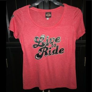 🎀 Harley Davidson womens top vintage LIVE TO RIDE
